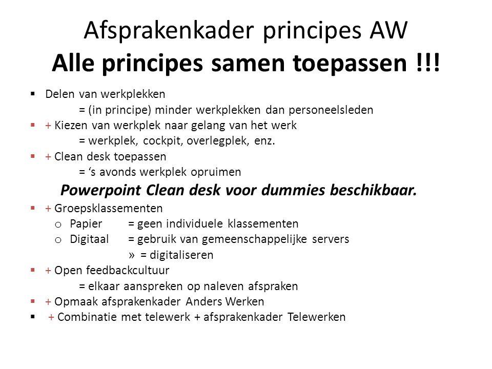 Afsprakenkader principes AW Alle principes samen toepassen !!!  Delen van werkplekken = (in principe) minder werkplekken dan personeelsleden  + Kiez