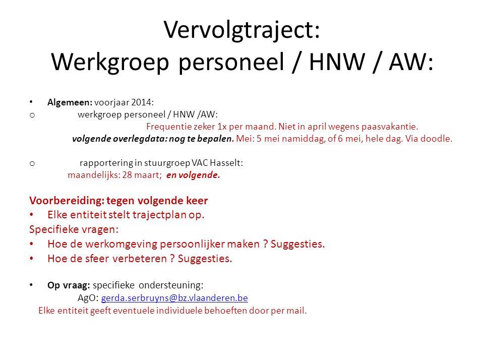 Vervolgtraject: Werkgroep personeel / HNW / AW: Algemeen: voorjaar 2014: o werkgroep personeel / HNW /AW: Frequentie zeker 1x per maand. Niet in april