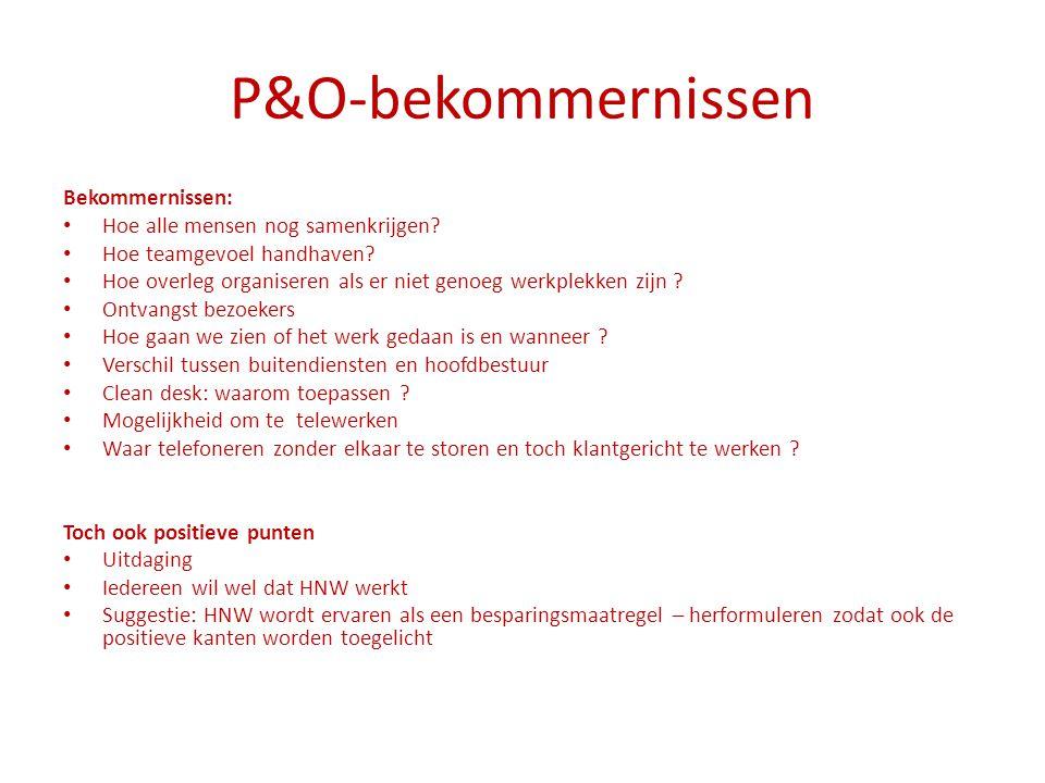P&O-bekommernissen Bekommernissen: Hoe alle mensen nog samenkrijgen? Hoe teamgevoel handhaven? Hoe overleg organiseren als er niet genoeg werkplekken