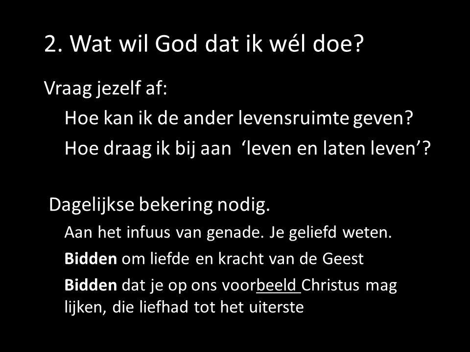 2. Wat wil God dat ik wél doe? Vraag jezelf af: Hoe kan ik de ander levensruimte geven? Hoe draag ik bij aan 'leven en laten leven'? Dagelijkse bekeri