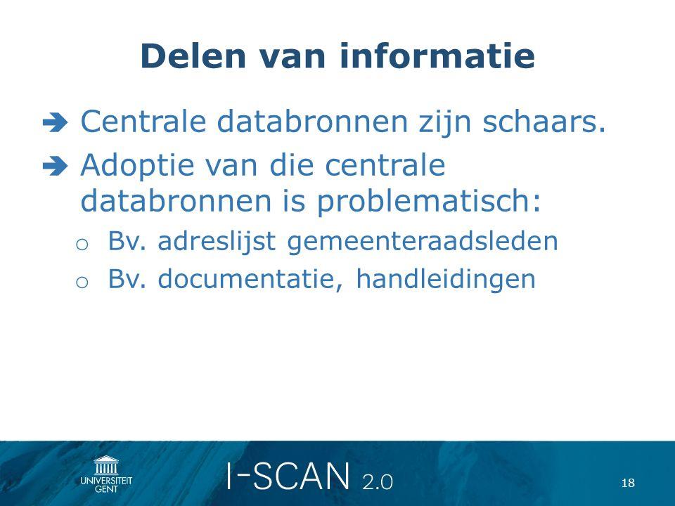 Delen van informatie  Centrale databronnen zijn schaars.  Adoptie van die centrale databronnen is problematisch: o Bv. adreslijst gemeenteraadsleden