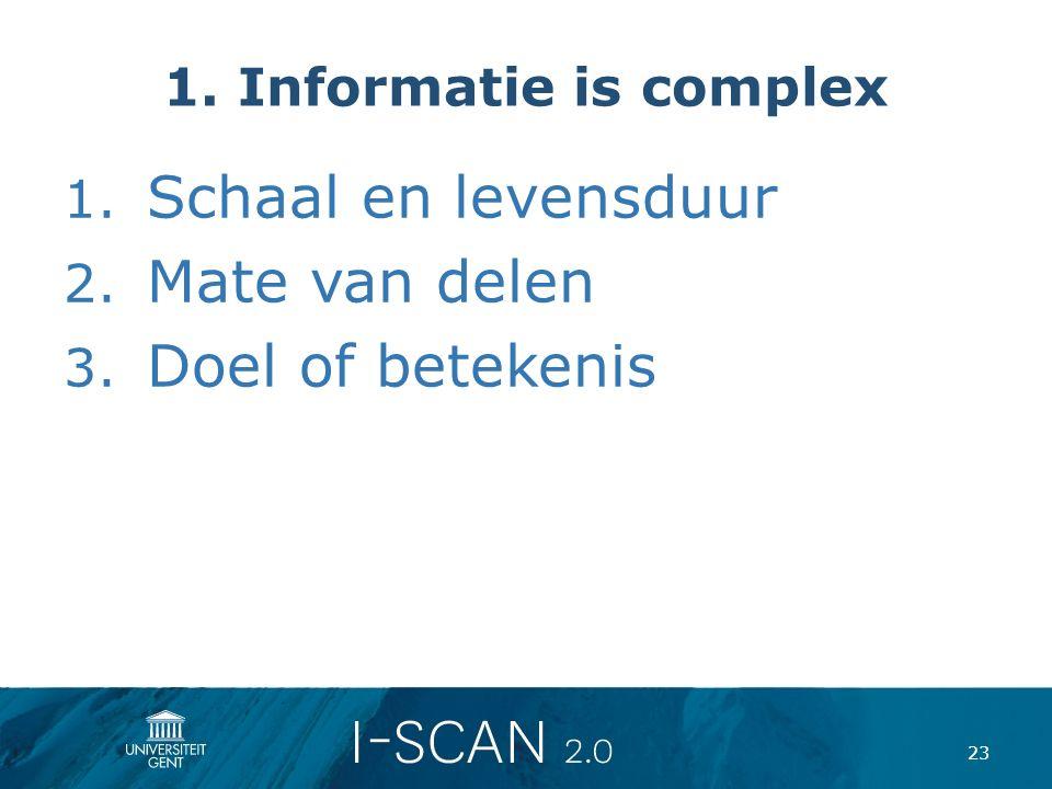 1. Informatie is complex 1. Schaal en levensduur 2. Mate van delen 3. Doel of betekenis 23
