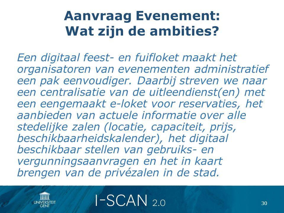 Aanvraag Evenement: Wat zijn de ambities? Een digitaal feest- en fuifloket maakt het organisatoren van evenementen administratief een pak eenvoudiger.