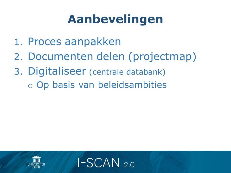 Aanbevelingen 1. Proces aanpakken 2. Documenten delen (projectmap) 3. Digitaliseer (centrale databank) o Op basis van beleidsambities