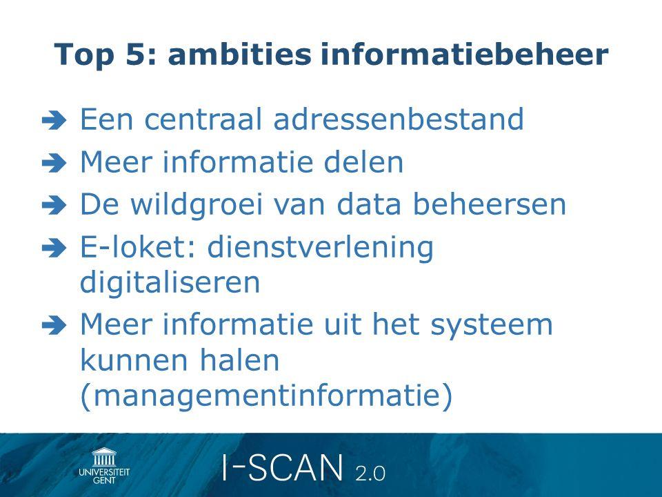 Top 5: ambities informatiebeheer  Een centraal adressenbestand  Meer informatie delen  De wildgroei van data beheersen  E-loket: dienstverlening d