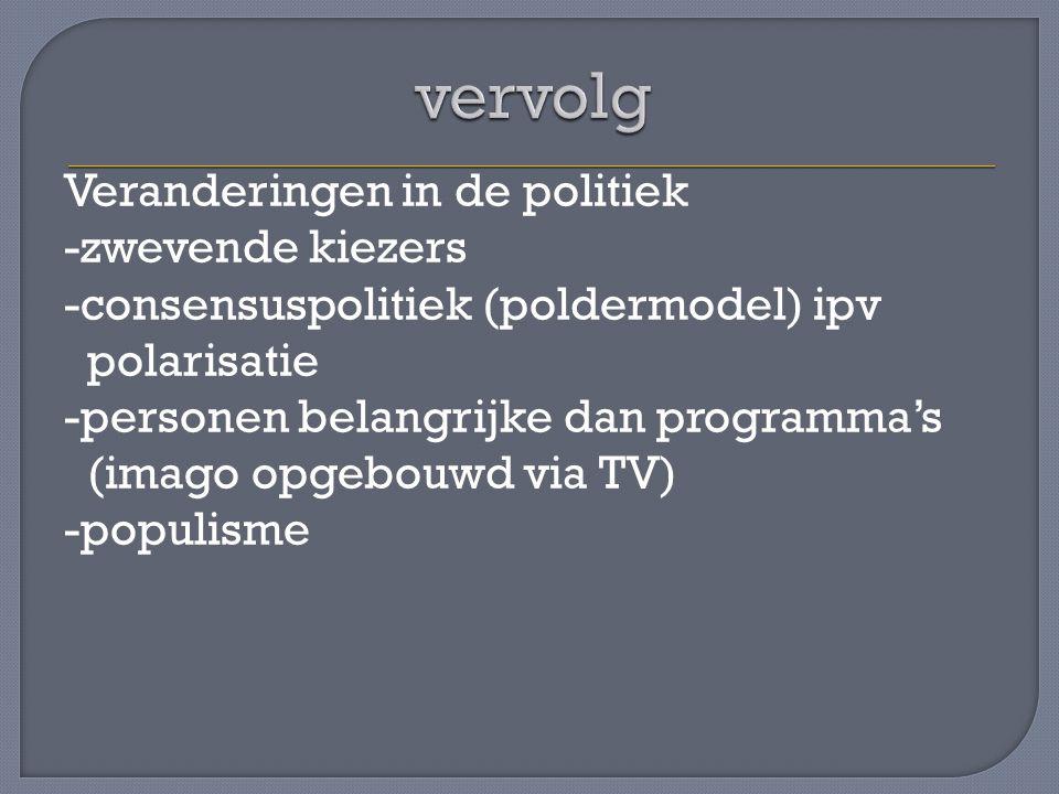 Veranderingen in de politiek -zwevende kiezers -consensuspolitiek (poldermodel) ipv polarisatie -personen belangrijke dan programma's (imago opgebouwd via TV) -populisme