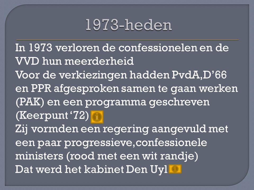 In 1973 verloren de confessionelen en de VVD hun meerderheid Voor de verkiezingen hadden PvdA,D'66 en PPR afgesproken samen te gaan werken (PAK) en ee