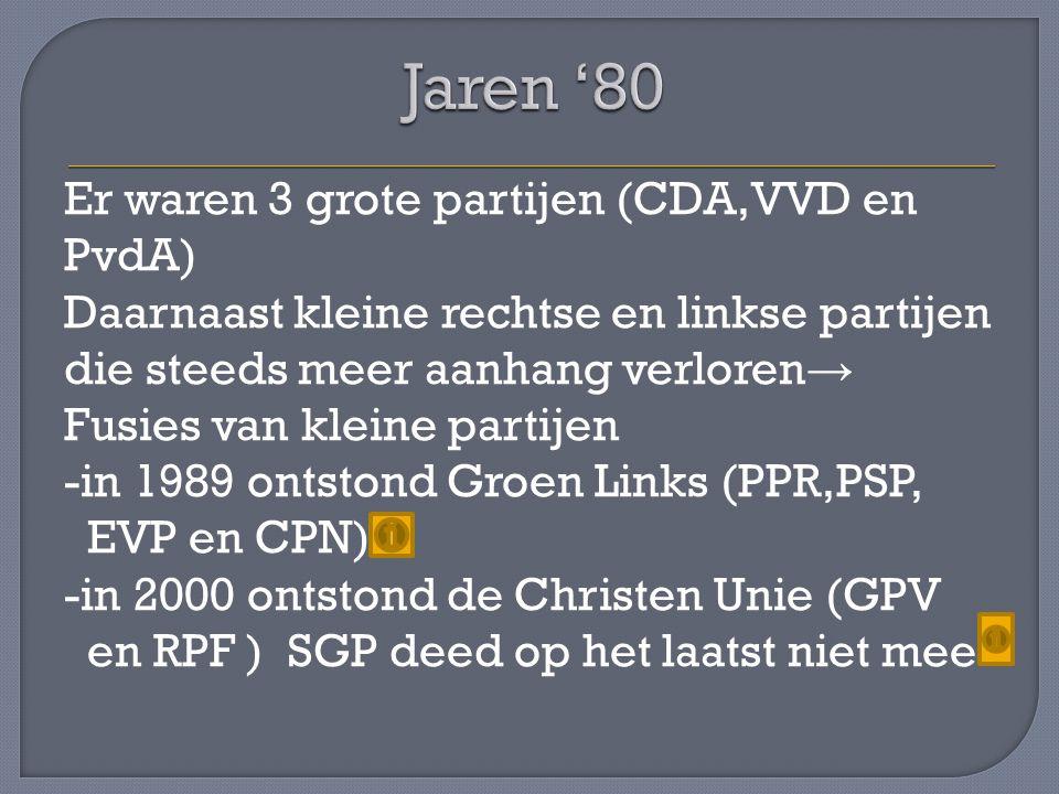 Er waren 3 grote partijen (CDA,VVD en PvdA) Daarnaast kleine rechtse en linkse partijen die steeds meer aanhang verloren → Fusies van kleine partijen