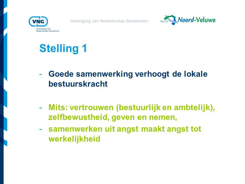 Vereniging van Nederlandse Gemeenten Stelling 1 -Goede samenwerking verhoogt de lokale bestuurskracht -Mits: vertrouwen (bestuurlijk en ambtelijk), zelfbewustheid, geven en nemen, -samenwerken uit angst maakt angst tot werkelijkheid