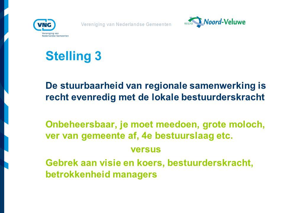 Vereniging van Nederlandse Gemeenten Stelling 3 De stuurbaarheid van regionale samenwerking is recht evenredig met de lokale bestuurderskracht Onbeheersbaar, je moet meedoen, grote moloch, ver van gemeente af, 4e bestuurslaag etc.