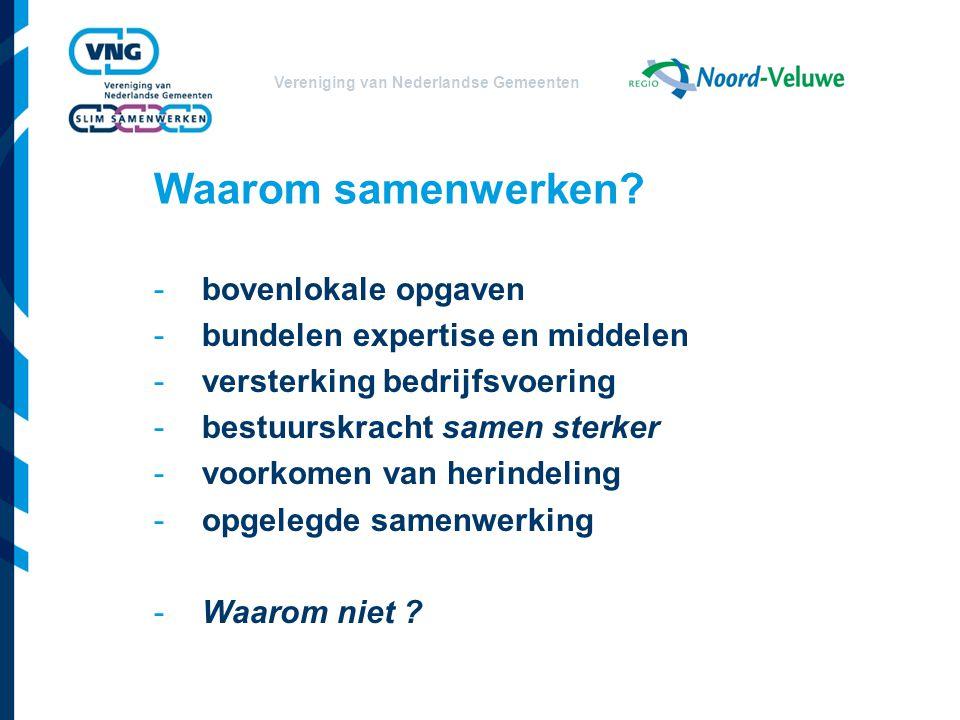 Vereniging van Nederlandse Gemeenten Stelling 2 Samen beleid ontwikkelen levert bewustere en steviger bestuurlijke keuzen in je gemeente en dus meer profiel Mits: zelfbewust (weten wat je wilt) en commitment, wat is je eigen identiteit eigenlijk ?