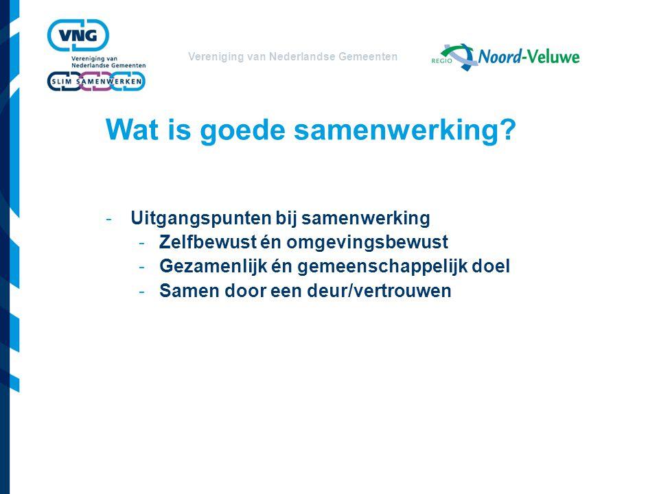 Vereniging van Nederlandse Gemeenten Wat is goede samenwerking.