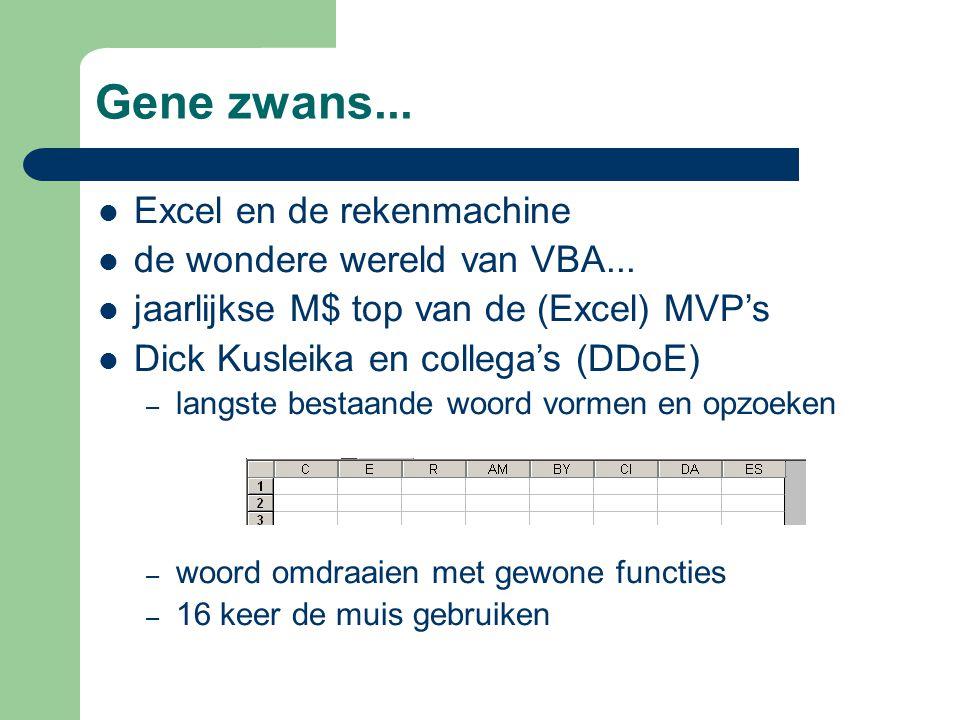 Gene zwans...Excel en de rekenmachine de wondere wereld van VBA...