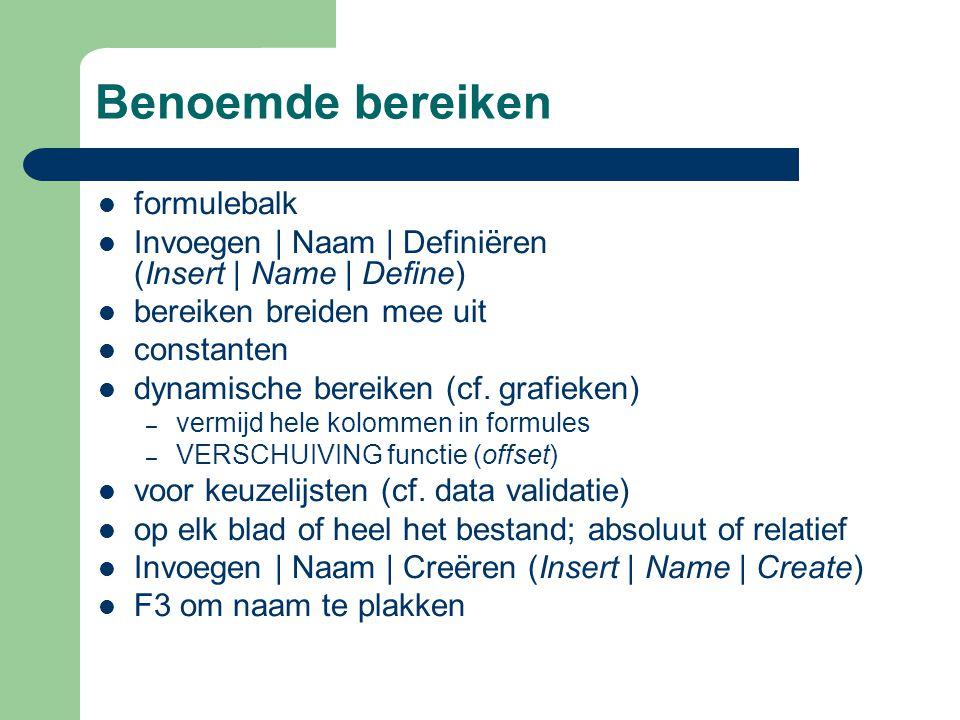 Benoemde bereiken formulebalk Invoegen | Naam | Definiëren (Insert | Name | Define) bereiken breiden mee uit constanten dynamische bereiken (cf.