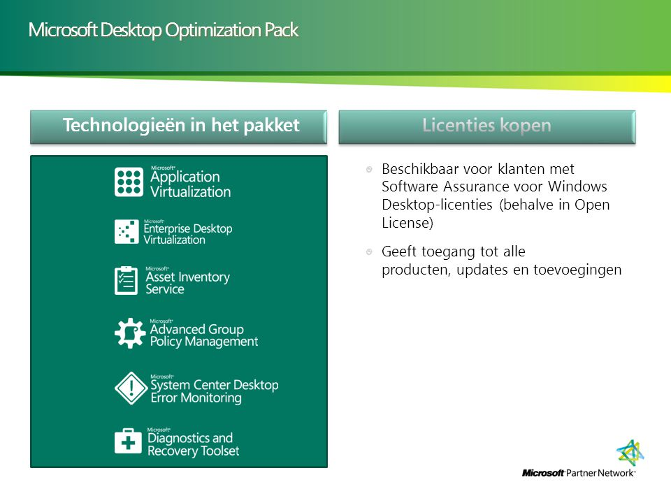 Technologieën in het pakket Microsoft Desktop Optimization Pack Beschikbaar voor klanten met Software Assurance voor Windows Desktop-licenties (behalve in Open License) Geeft toegang tot alle producten, updates en toevoegingen