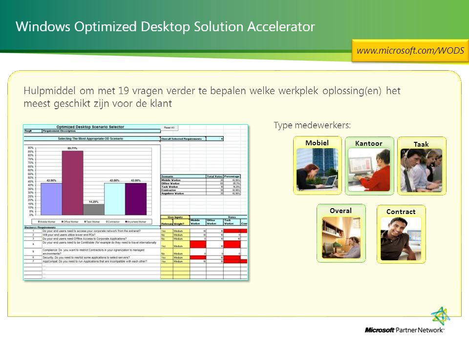 Contract Overal Taak Mobiel Kantoor Windows Optimized Desktop Solution Accelerator www.microsoft.com/WODS Hulpmiddel om met 19 vragen verder te bepalen welke werkplek oplossing(en) het meest geschikt zijn voor de klant Type medewerkers: