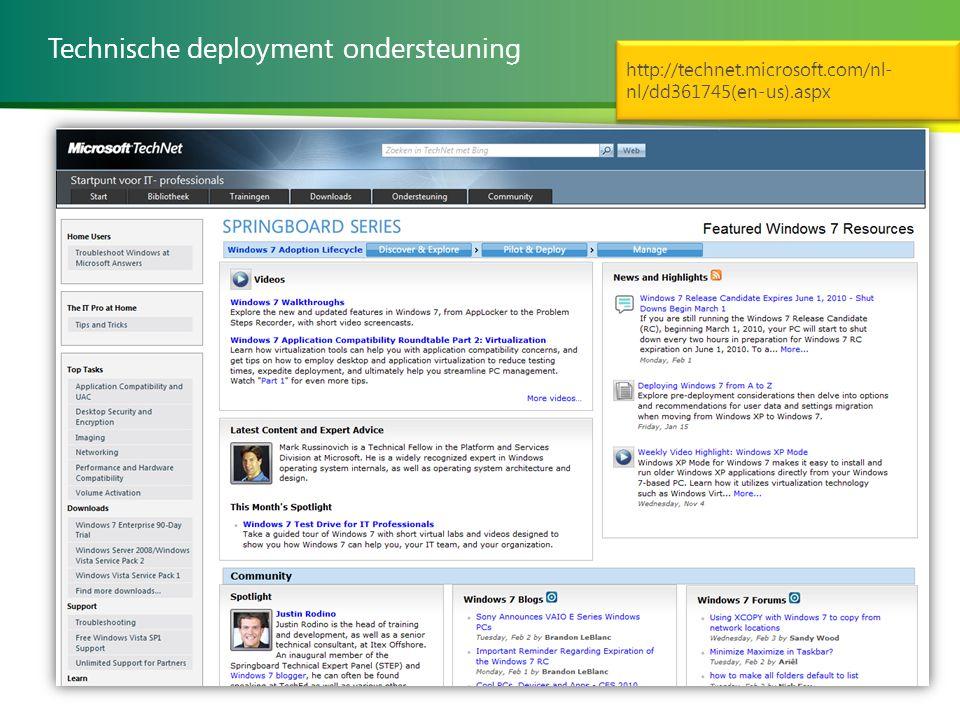 Technische deployment ondersteuning http://technet.microsoft.com/nl- nl/dd361745(en-us).aspx http://technet.microsoft.com/nl- nl/dd361745(en-us).aspx