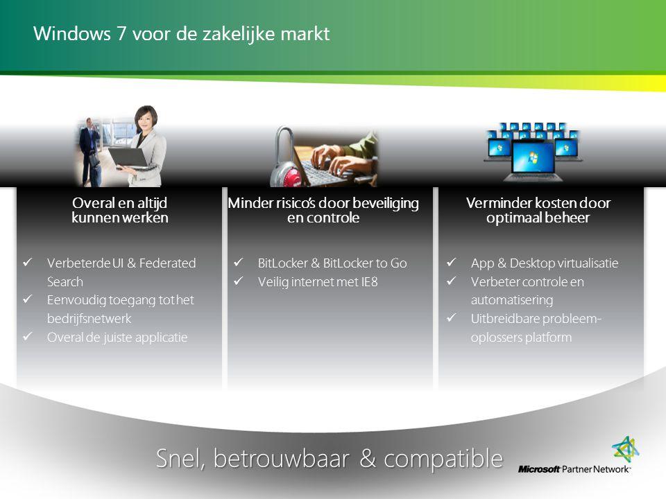 Windows 7 voor de zakelijke markt Snel, betrouwbaar & compatible Verminder kosten door optimaal beheer App & Desktop virtualisatie Verbeter controle en automatisering Uitbreidbare probleem- oplossers platform Verbeterde UI & Federated Search Eenvoudig toegang tot het bedrijfsnetwerk Overal de juiste applicatie Overal en altijd kunnen werken BitLocker & BitLocker to Go Veilig internet met IE8 Minder risico's door beveiliging en controle