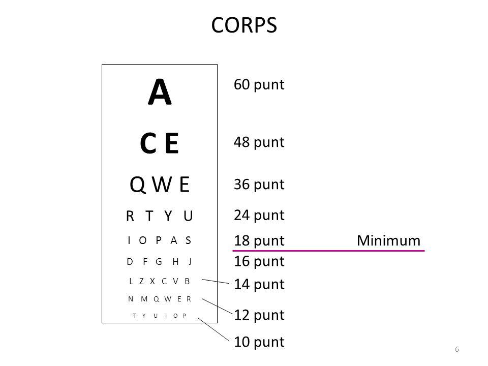 CORPS 48 punt A C E Q W E R T Y U I O P A S D F G H J L Z X C V B N M Q W E R T Y U I O P Helvetica 48 36 point Helvetica 24 point Helvetica 18 point