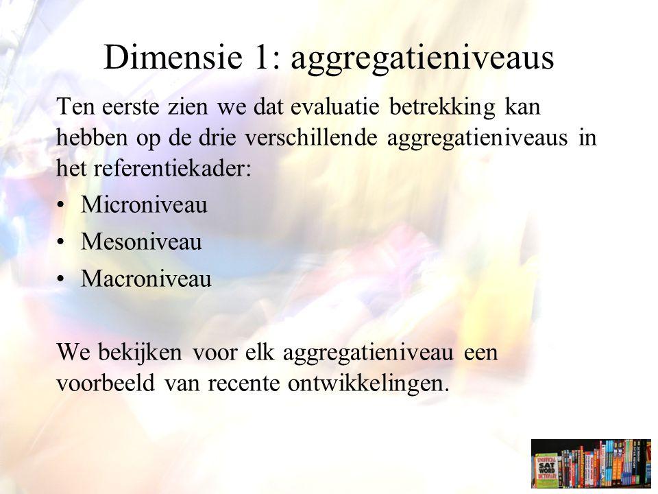 Dimensie 1: aggregatieniveaus Ten eerste zien we dat evaluatie betrekking kan hebben op de drie verschillende aggregatieniveaus in het referentiekader: Microniveau Mesoniveau Macroniveau We bekijken voor elk aggregatieniveau een voorbeeld van recente ontwikkelingen.