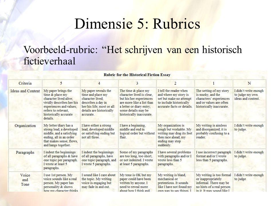 Dimensie 5: Rubrics Voorbeeld-rubric: Het schrijven van een historisch fictieverhaal