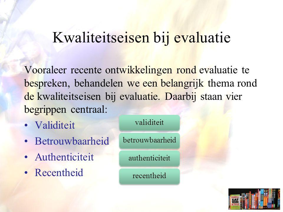 Kwaliteitseisen bij evaluatie Vooraleer recente ontwikkelingen rond evaluatie te bespreken, behandelen we een belangrijk thema rond de kwaliteitseisen bij evaluatie.