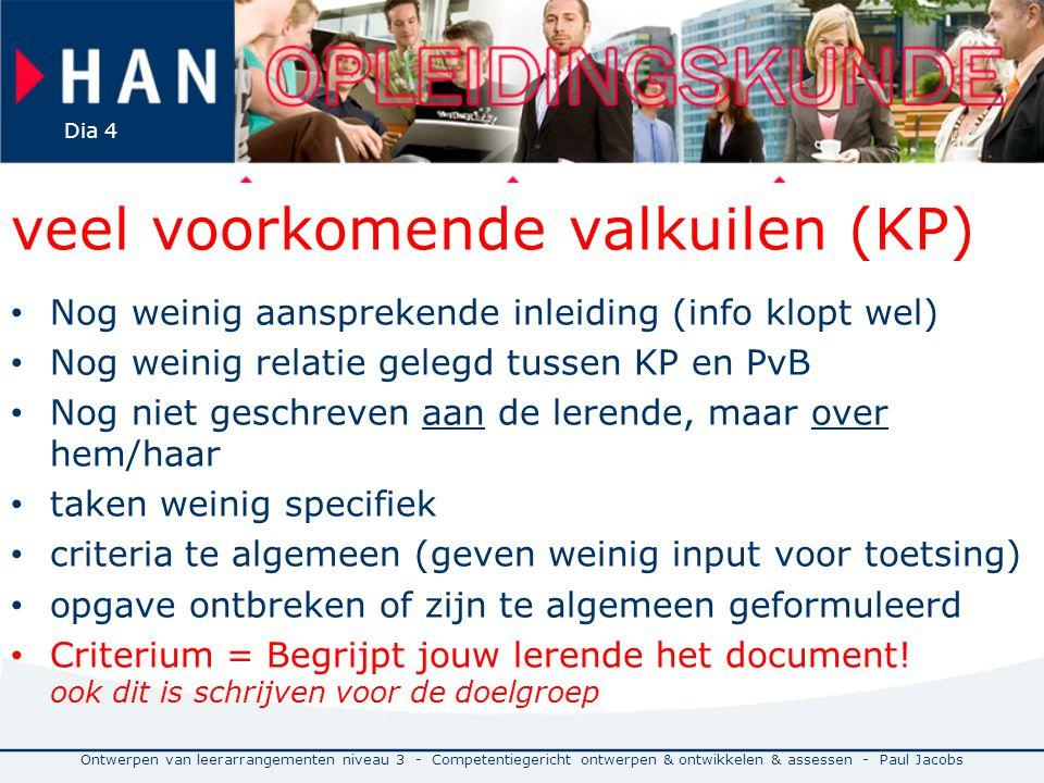 veel voorkomende valkuilen (KP) Nog weinig aansprekende inleiding (info klopt wel) Nog weinig relatie gelegd tussen KP en PvB Nog niet geschreven aan