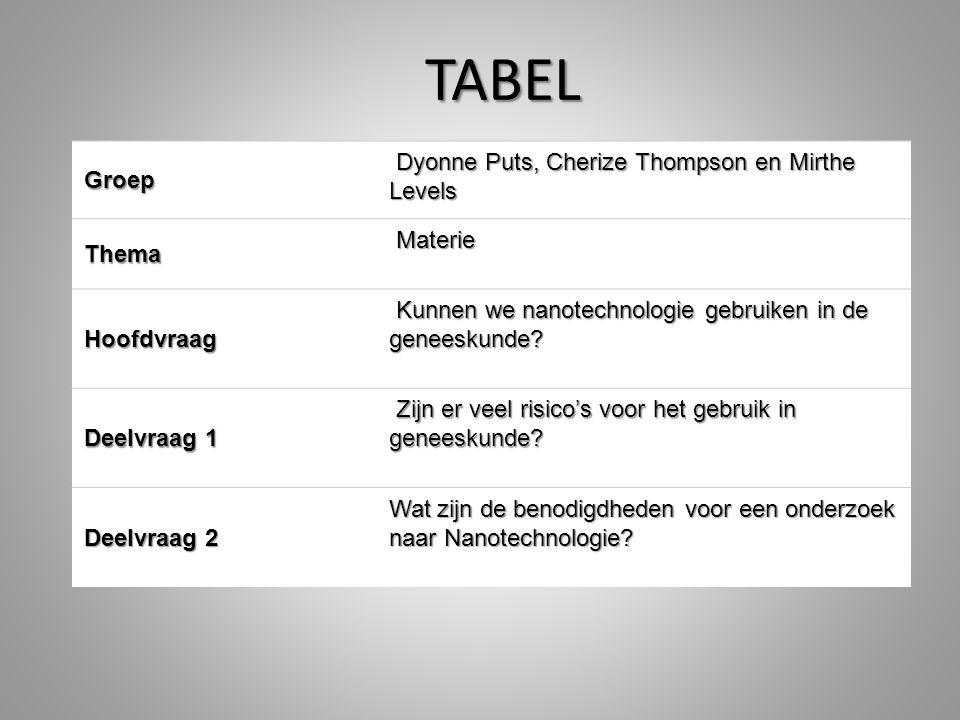 Groep Dyonne Puts, Cherize Thompson en Mirthe Levels Dyonne Puts, Cherize Thompson en Mirthe Levels Thema Materie Hoofdvraag Kunnen we nanotechnologie