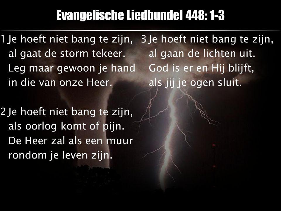 Evangelische Liedbundel 448: 1-3 1Je hoeft niet bang te zijn, al gaat de storm tekeer. Leg maar gewoon je hand in die van onze Heer. 2Je hoeft niet ba