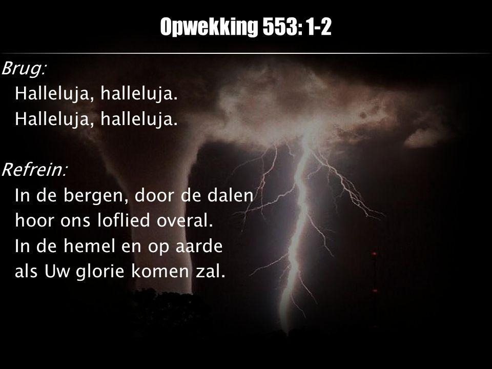 Brug: Halleluja, halleluja. Refrein: In de bergen, door de dalen hoor ons loflied overal. In de hemel en op aarde als Uw glorie komen zal. Opwekking 5