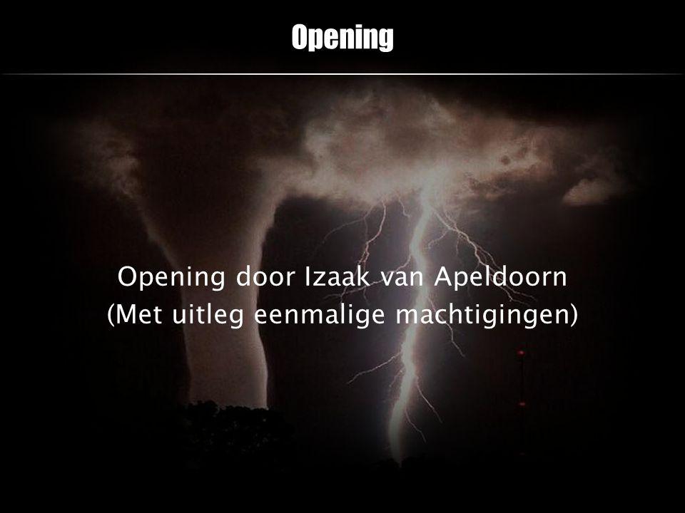 Opening Opening door Izaak van Apeldoorn (Met uitleg eenmalige machtigingen)