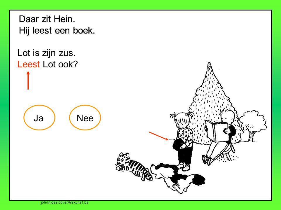 johan.desloover@skynet.be Daar zit Hein. Hij leest een boek. Daar zit Hein. Hij leest een boek. Lot is zijn zus. Leest Lot ook? JaNee