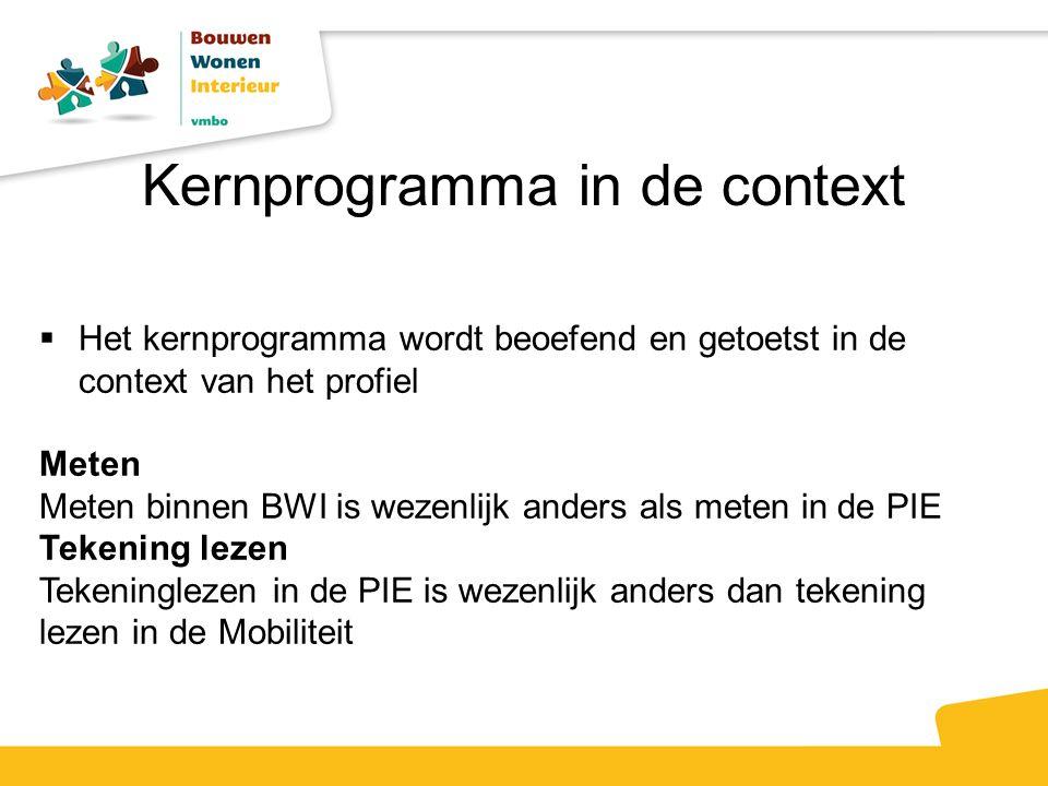 Kernprogramma in de context  Het kernprogramma wordt beoefend en getoetst in de context van het profiel Meten Meten binnen BWI is wezenlijk anders als meten in de PIE Tekening lezen Tekeninglezen in de PIE is wezenlijk anders dan tekening lezen in de Mobiliteit