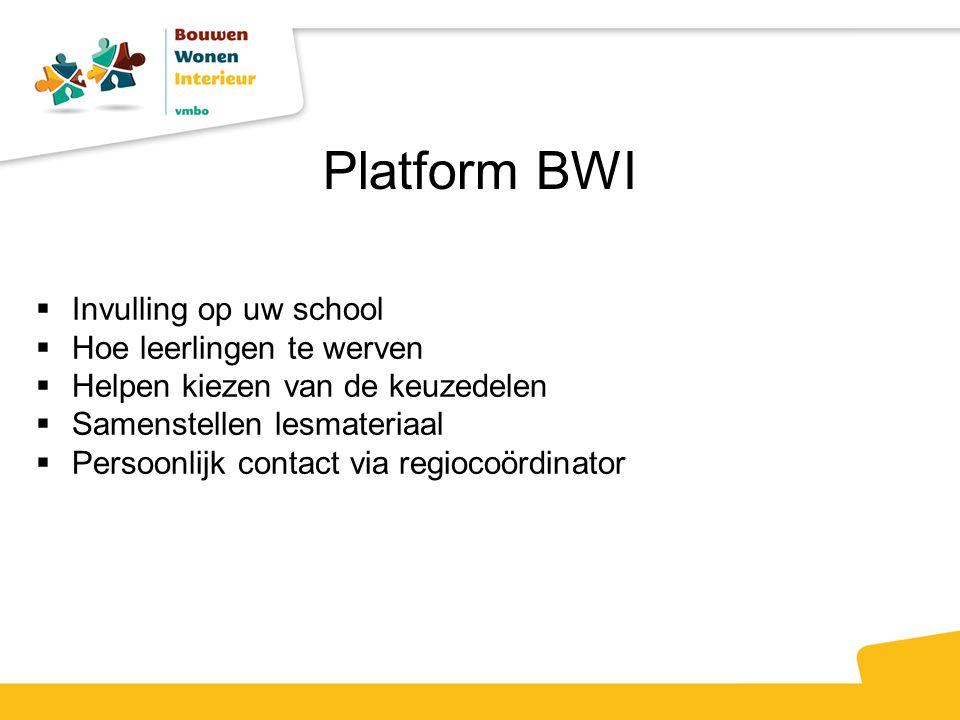 Platform BWI  Invulling op uw school  Hoe leerlingen te werven  Helpen kiezen van de keuzedelen  Samenstellen lesmateriaal  Persoonlijk contact via regiocoördinator