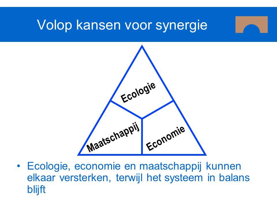 Ecologie Economie Maatschappij Volop kansen voor synergie Ecologie, economie en maatschappij kunnen elkaar versterken, terwijl het systeem in balans b