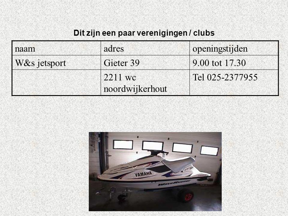 Internetsites over deze hobby: *marktplaats ken je die dingen wel kopen *www.jetsport.nl en www.jetskiclub.nl *en anders moet je kijken bij google op internet en typ je in waterscooter Kijk naar de antwoorden van vraag 11 Voeg hier foto's of plaatjes in