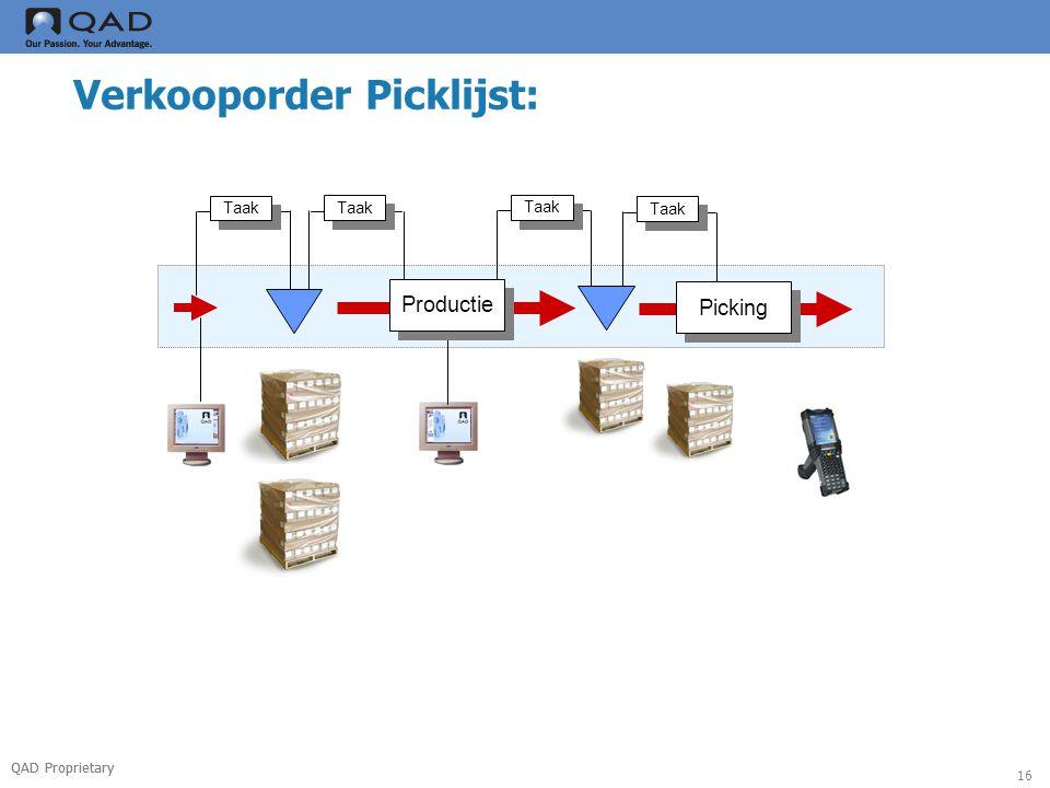 QAD Proprietary 16 Verkooporder Picklijst: Taak Productie Taak Picking