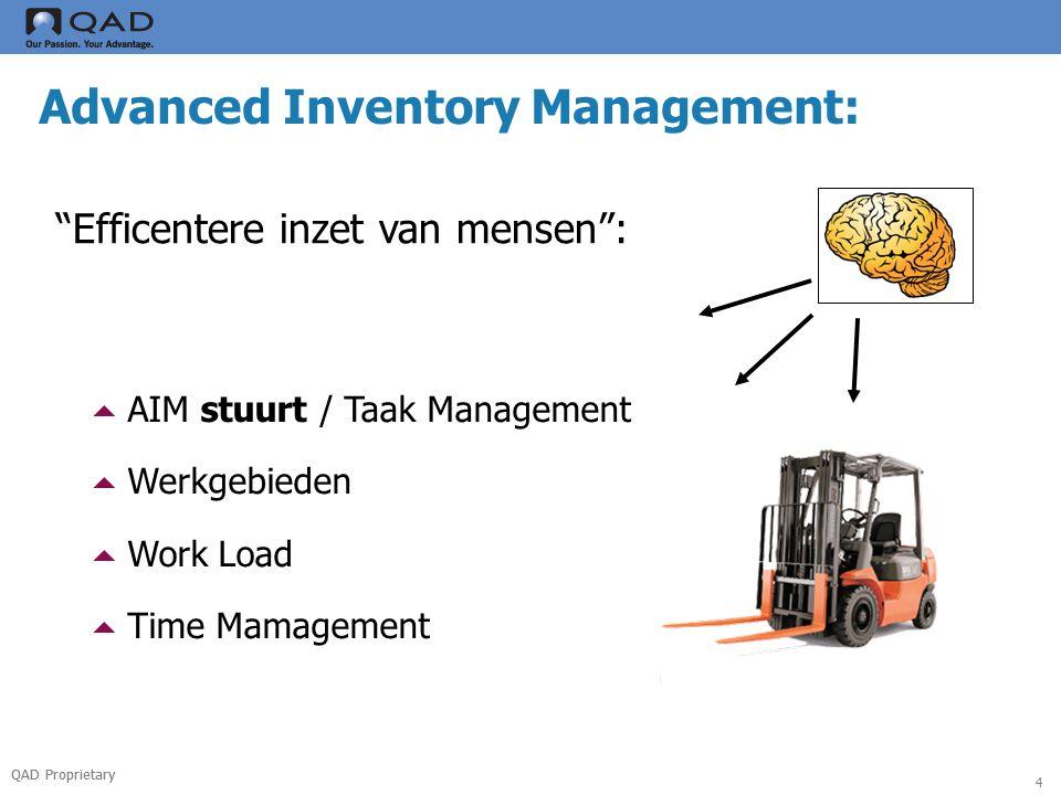 QAD Proprietary 5 Advanced Inventory Management: Betere vullingsgraad :  Lege plekken / Omloopsnelheid  Rekenregels/Formules –Volle pallet/Gebroken pallet/Bonte pallet –Wegzet-logica en Pak-logica –FiFo, FeFo, LiFo  Cross Docking