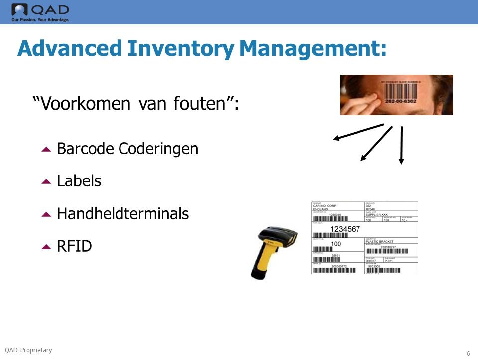 QAD Proprietary 6 Advanced Inventory Management: Voorkomen van fouten :  Barcode Coderingen  Labels  Handheldterminals  RFID