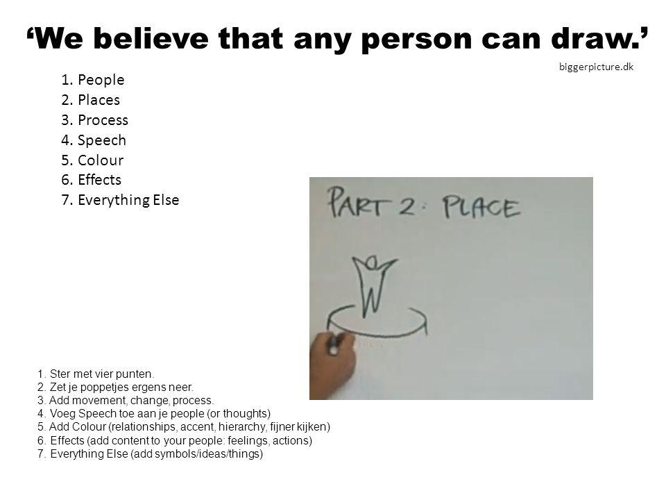 1.People 2. Places 3. Process 4. Speech 5. Colour 6.