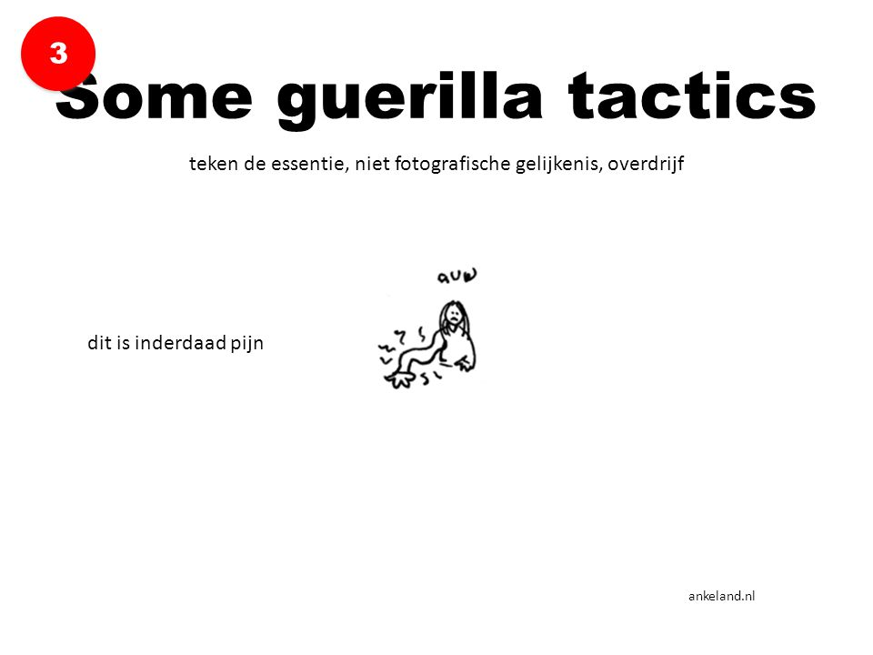 teken de essentie, niet fotografische gelijkenis, overdrijf Some guerilla tactics 3 3 ankeland.nl dit is inderdaad pijn