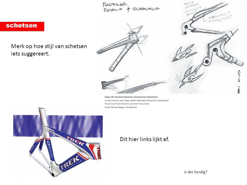 schetsen Merk op hoe stijl van schetsen iets suggereert. Dit hier links lijkt af. Is dat handig?
