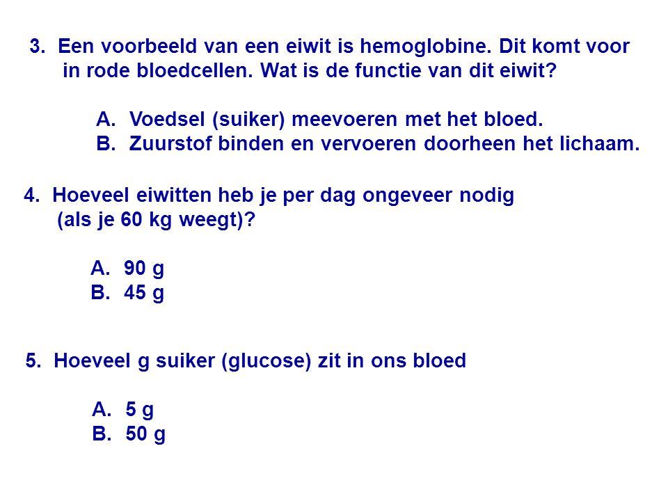 3.Een voorbeeld van een eiwit is hemoglobine. Dit komt voor in rode bloedcellen.
