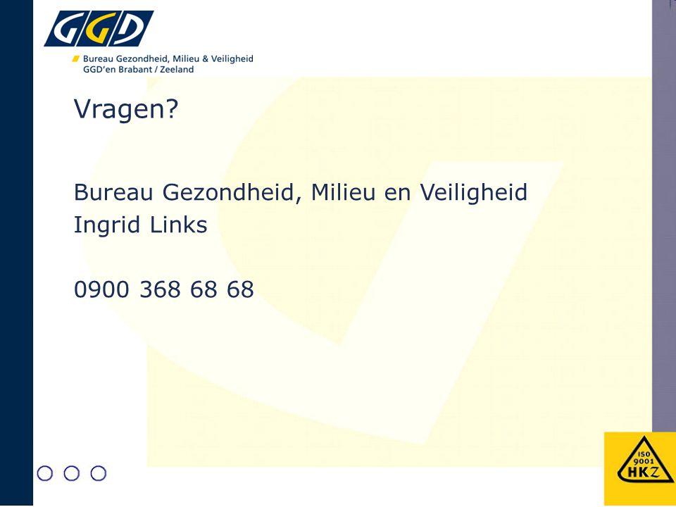 Vragen? Bureau Gezondheid, Milieu en Veiligheid Ingrid Links 0900 368 68 68