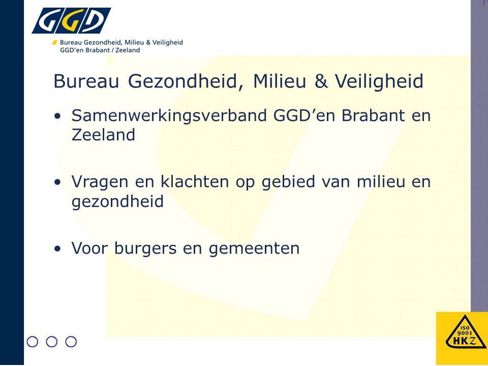 Bureau Gezondheid, Milieu & Veiligheid Samenwerkingsverband GGD'en Brabant en Zeeland Vragen en klachten op gebied van milieu en gezondheid Voor burge