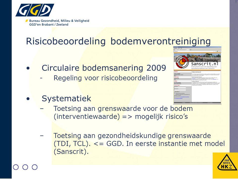 Risicobeoordeling bodemverontreiniging Circulaire bodemsanering 2009 -Regeling voor risicobeoordeling Systematiek –Toetsing aan grenswaarde voor de bo