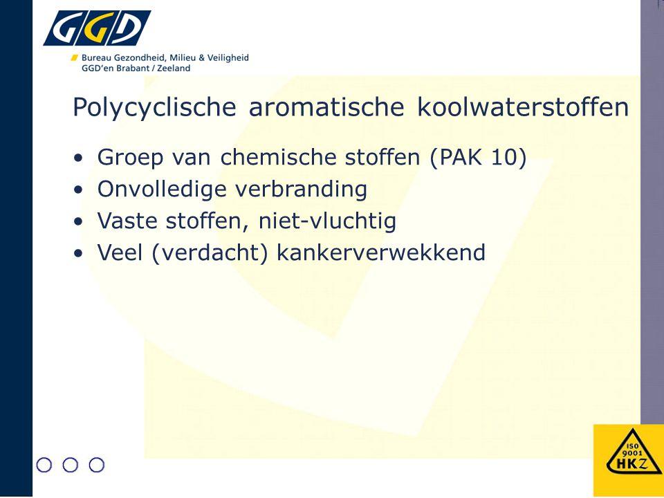 Polycyclische aromatische koolwaterstoffen Groep van chemische stoffen (PAK 10) Onvolledige verbranding Vaste stoffen, niet-vluchtig Veel (verdacht) k