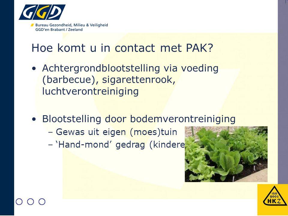 Hoe komt u in contact met PAK? Achtergrondblootstelling via voeding (barbecue), sigarettenrook, luchtverontreiniging Blootstelling door bodemverontrei