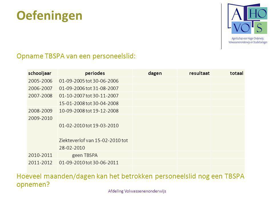 Afdeling Volwassenenonderwijs Oefeningen Opname TBSPA van een personeelslid: Hoeveel maanden/dagen kan het betrokken personeelslid nog een TBSPA opnem