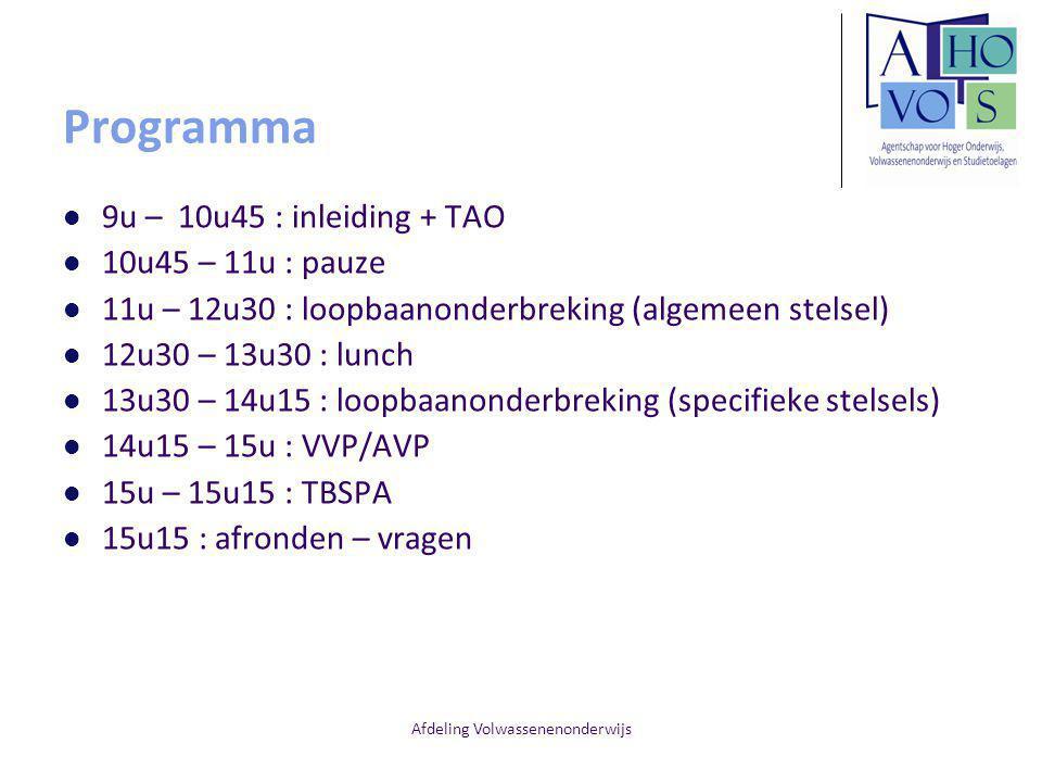 Afdeling Volwassenenonderwijs Programma 9u – 10u45 : inleiding + TAO 10u45 – 11u : pauze 11u – 12u30 : loopbaanonderbreking (algemeen stelsel) 12u30 –